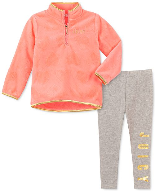 Juicy Couture Little Girls 2-Pc. Fleece Sweatshirt & Leggings Set
