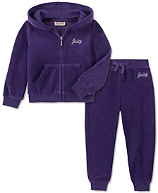 Toddler Girls 2-Pc. Velour Hoodie & Jogger Pants Set