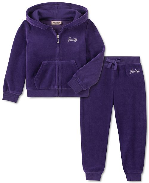 Juicy Couture Toddler Girls 2-Pc. Velour Hoodie & Jogger Pants Set