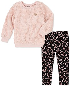 Little Girls 2-Pc. Faux-Fur Sweatshirt & Heart Leggings Set