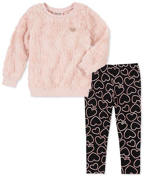 Juicy Couture Little Girls 2-Pc. Faux-Fur Sweatshirt & Heart Leggings Set
