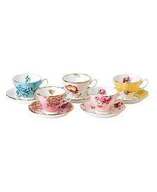 100 Years 1950-1990 5-Piece Teacup & Saucer Set
