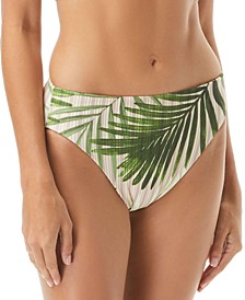 Tropical Palm & Cat-Print Reversible High-Waist Bikini Bottoms