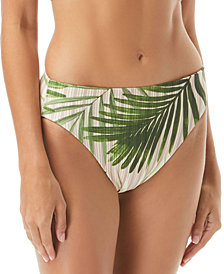 Vince Camuto Tropical Palm & Cat-Print Reversible High-Waist Bikini Bottoms