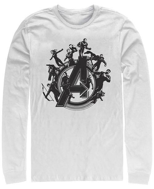 Marvel Men's Avengers Endgame Circle Group Logo, Long Sleeve T-shirt