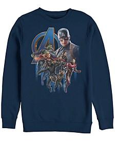 Men's Avengers Endgame Classic Logo Captain America Group, Crewneck Fleece