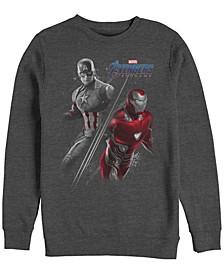 Men's Avengers Endgame Iron Man Captain America Split, Crewneck Fleece