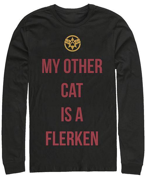 Marvel Men's Captain Marvel My Cat is a Flerken, Long Sleeve T-shirt