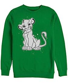 Men's Lion King Simba Smirk Paint Splatter, Crewneck Fleece