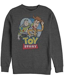 Pixar Men's Toy Story Buzz and Woody Buddies, Crewneck Fleece