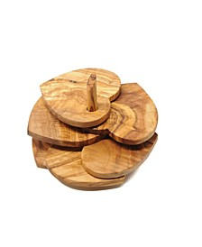 Heart Shaped Olive Wood Coasters, Set of 5 with Holder