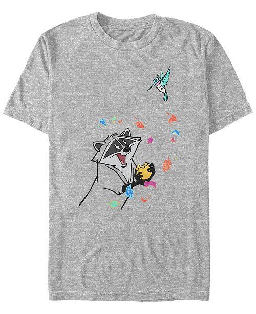Disney Men's Pocahontas Meeko Flit Colorful Leafs Fall, Short Sleeve T-Shirt