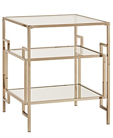 Evander Side Table with Mirror Bottom and Glass Shelf and Top