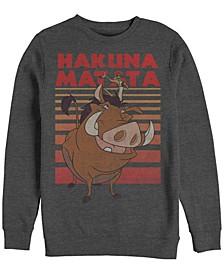 Men's Lion King Timon Pumba Hakuna Matata Stripes, Crewneck Fleece
