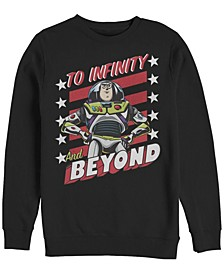 Pixar Men's Toy Story Buzz to Infinity and Beyond Stars and Stripes, Crewneck Fleece