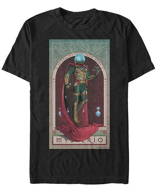 Marvel Men's Spider-Man Far From Home Mysterio Playing Card Poster, Short Sleeve T-shirt