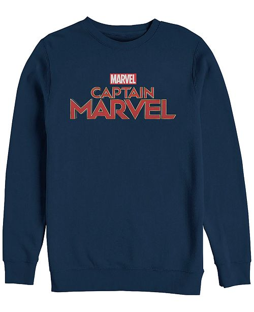 Marvel Men's Captain Marvel Chest Text Logo, Crewneck Fleece