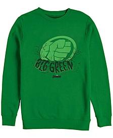 Men's Hulk Big Green Punch, Crewneck Fleece