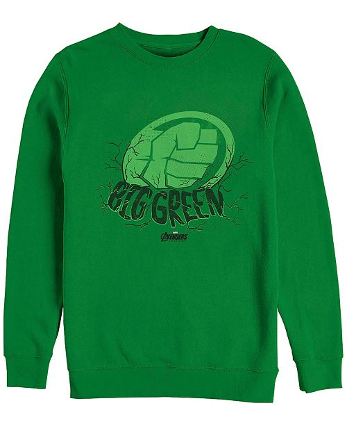 Marvel Men's Hulk Big Green Punch, Crewneck Fleece
