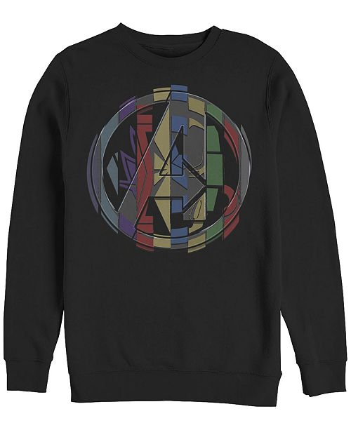 Marvel Men's Avengers Endgame Badge Logo Mash Up, Crewneck Fleece