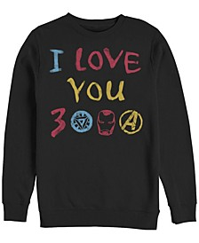 Men's Avengers Endgame Iron Man Hand Drawn I Love You 3000, Crewneck Fleece