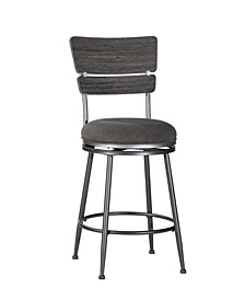 Melange Wood Back Swivel Counter Height Stool