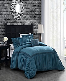 Zurich Elastic Hotel 6pc Queen Size Comforter Set with Throw Pillows