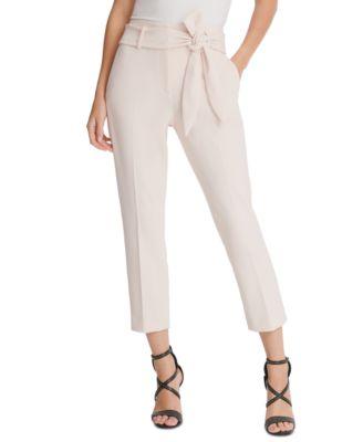 Petite Belted Slim-Leg Pants