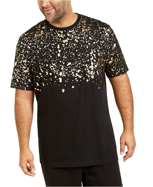 INC International Concepts INC Men's Big & Tall Gold Leaf Splatter T-Shirt, Created For Macy's