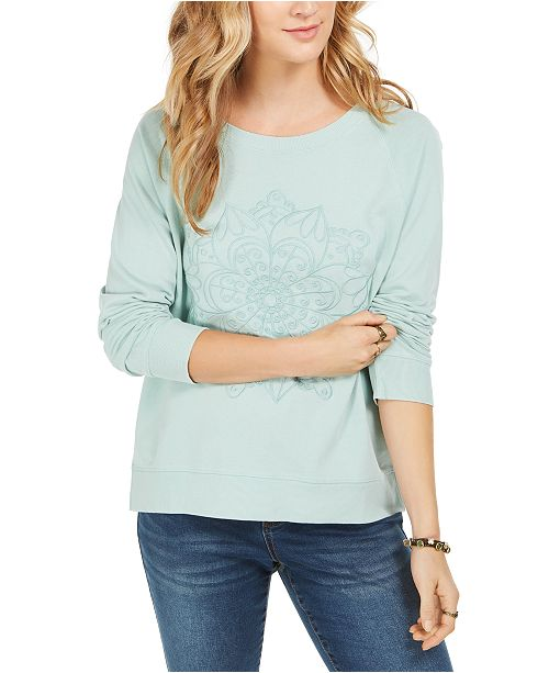 Style & Co Embroidered Cotton Sweatshirt, Created For Macy's