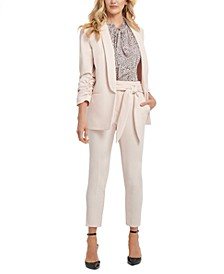 Shawl-Collar Ruched-Sleeve Blazer, Printed Pleated Top & Belted Slim-Leg Pants