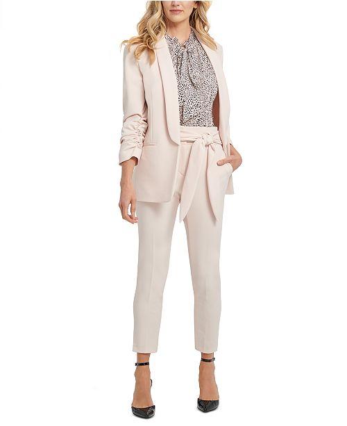 DKNY Petite Shawl-Collar Ruched-Sleeve Blazer, Animal-Printed Pleated Top & Belted Slim-Leg Pants
