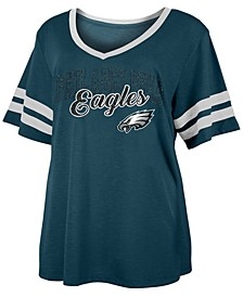 Women's Plus Size Philadelphia Eagles Sleeve Stripe Slub T-Shirt