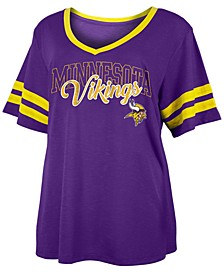 Women's Plus Size Minnesota Vikings Sleeve Stripe Slub T-Shirt