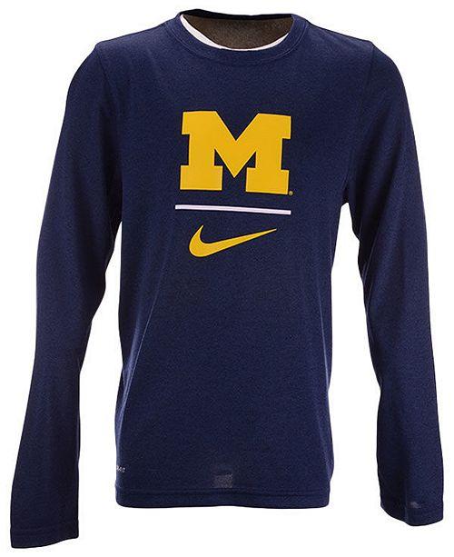 Nike Big Boys Michigan Wolverines Legend Long Sleeve T-Shirt