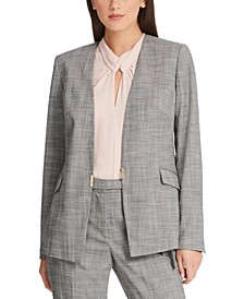 Petite Plaid Collarless Blazer