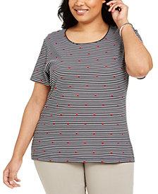 Karen Scott Plus Size Striped Heart-Print Top, Created for Macy's