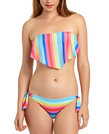 Shiny Rainbow Stripe Handkerchief Bandeau Bikini Top & Side-Tie Hipster Bottoms, Created for Macy's