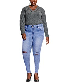 Plus Size Asha Ripped-Knee Jeans