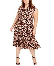 Plus Size Leopard-Print Drawstring Dress