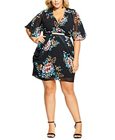 Trendy Plus Size Brushstroke Belted Dress
