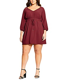 Plus Size Drawstring-Waist Mini Dress