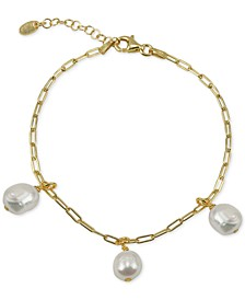 Freshwater Pearl (5-5-1/2mm) Dangle Charm Bracelet in 18k Gold-Plated Sterling Silver