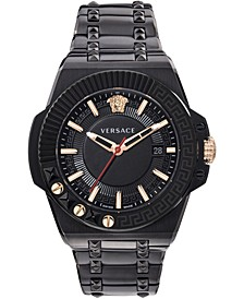 Men's Swiss Chain Reaction Black Ion-Plated Stainless Steel Bracelet Watch 45mm