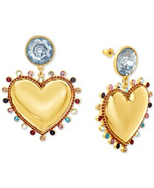 Gold-Tone Rhinestone Heart Drop Earrings