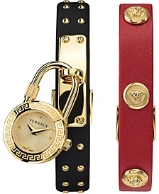 Women's Swiss Medusa Lock Icon Red & Black Convertible Leather Strap Watch 22mm