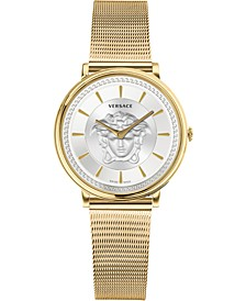 Women's Swiss V-Circle Gold Ion-Plated Stainless Steel Mesh Bracelet Watch 38mm