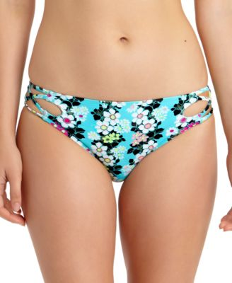 Juniors' Floral-Print Strappy Hipster Bikini Bottoms, Created for Macy's