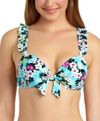 Juniors' Floral Ruffle Underwire Push-Up Bikini Top, Available in D/DD, Created for Macy's