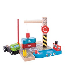 Container Shipping Yard Wooden Train Accessory